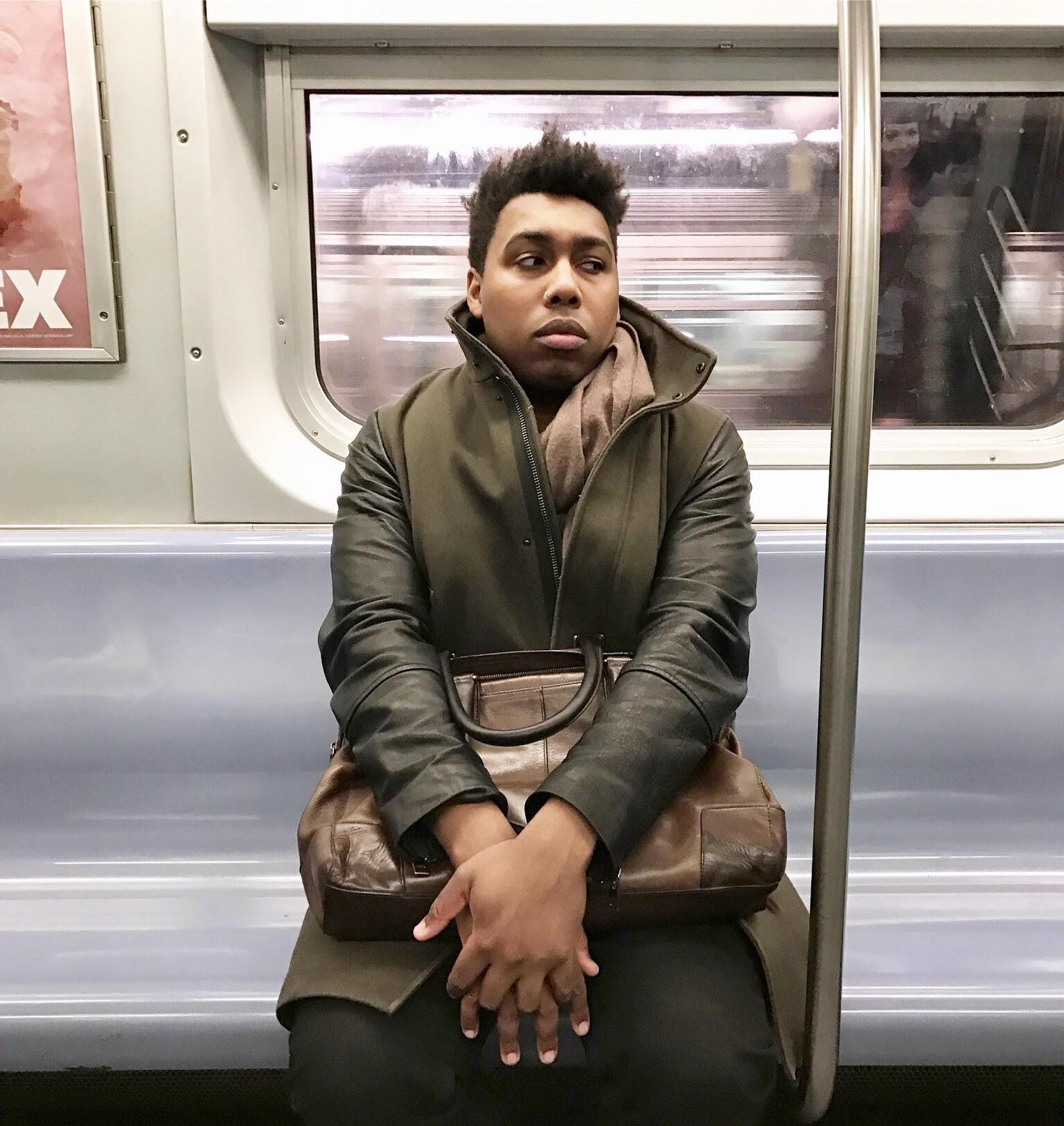 Saeed Jones on a subway train