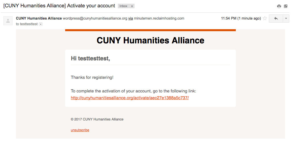 Email to activate account