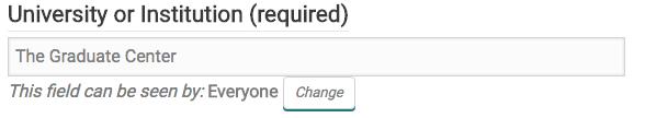 Profile privacy change button